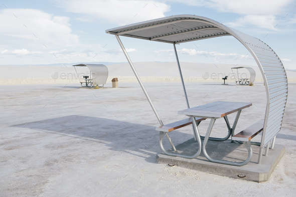 Picnic tables and shelters at White Sands National Park - Stock Photo - Images