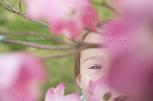 A young girl with long blonde hair looking through the blossom laden branches of a tree in summer. - Stock Photo - Images