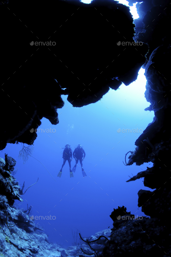 Scuba diving along North Wall, Grand CaymanDive site known as Mainstreet - Stock Photo - Images