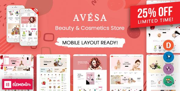 Avesa - Beauty, Cosmetics Store Elementor WooCommerce WordPress Theme (06+ Indexes + Mobile Layout)
