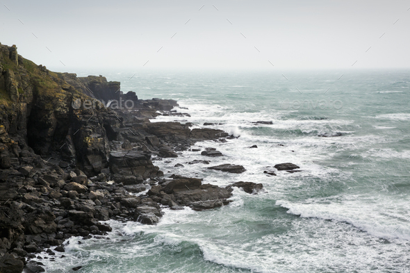 Cornish Coast, view of the sea from a rocky cliff. - Stock Photo - Images