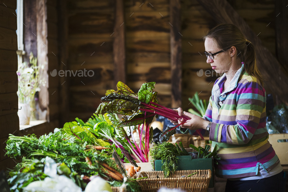 A woman handling organic produce in a farm shop. - Stock Photo - Images