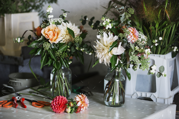 Organic flower arrangements. Hand tied bouquet. - Stock Photo - Images