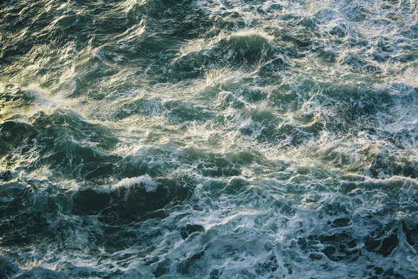 Crashing waves and surf, green and turquoise colours in the ocean, view from above. - Stock Photo - Images