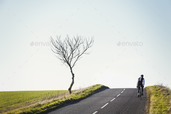 A cyclist pedalling along a country road, rear view. - Stock Photo - Images