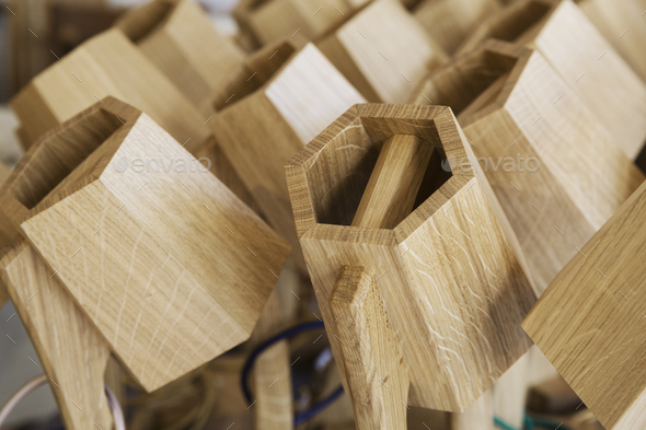 Close up of hexagonal, wooden furniture elements. - Stock Photo - Images