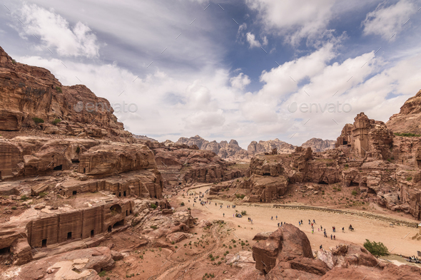 High angle view across the historic site of Petra, Jordan, rock formations and rock-cut - Stock Photo - Images