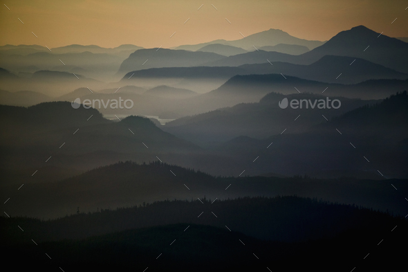 An aerial view of the landscape, islands, water and mountains of the Broughton Archipelago at - Stock Photo - Images
