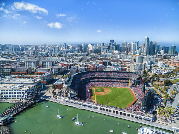 Aerial view over the A & T Ballpark the home of the San Francisco  Giants football team in San - Stock Photo - Images