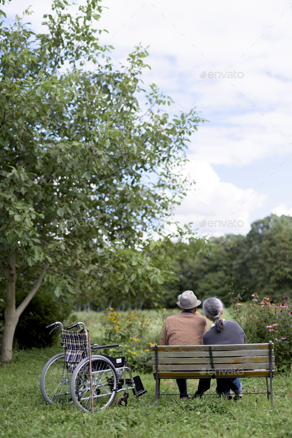 Husband and wife, rear view of elderly man wearing hat and woman sitting side by side on a bench in - Stock Photo - Images