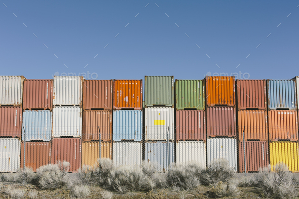 Stacks of colorful shipping containers, Nevada, USA. - Stock Photo - Images