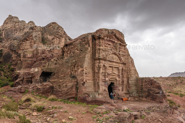 Exterior view of the rock-cut architecture, entrance to a tomb, Petra, Jordan. - Stock Photo - Images