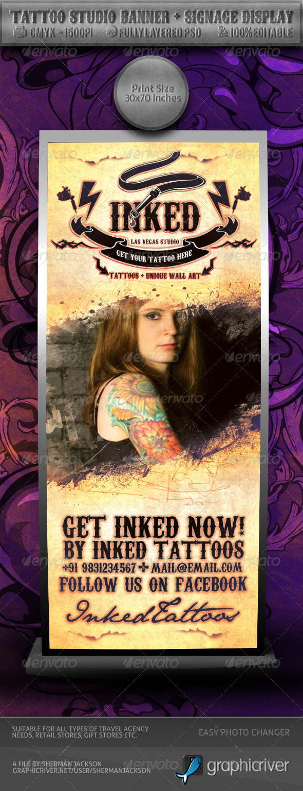 Tattoo Studio Banner & Signage Display - Signage Print Templates