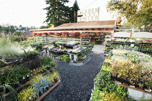 Garden center nursery exterior view. - Stock Photo - Images