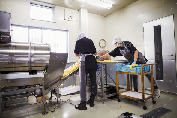 Workers in aprons and hats collecting freshly cut noodles from the conveyor belt to package and - Stock Photo - Images