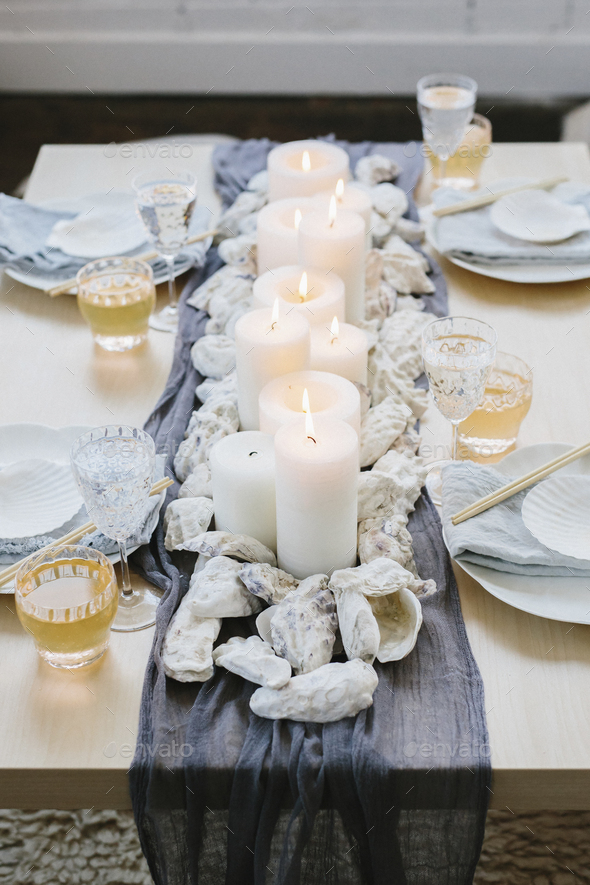 Place settings at a table dressed for an occasion. - Stock Photo - Images