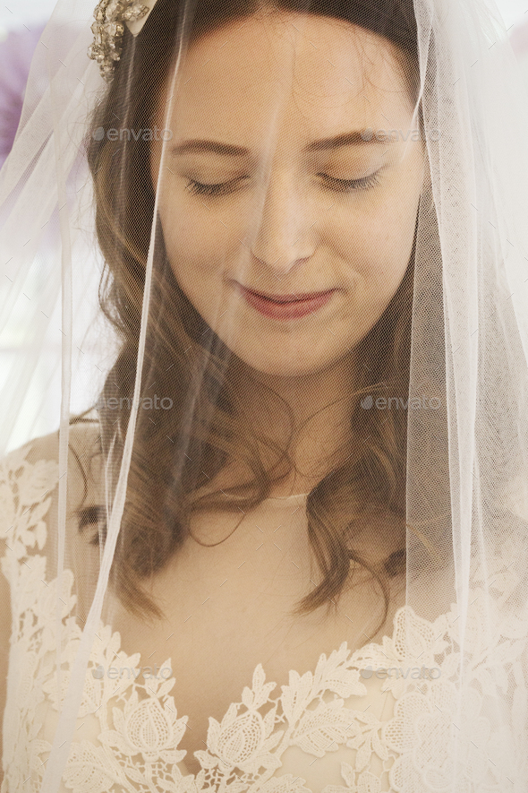 A young woman, a bride in a wedding dress with lace bodice, and a net veil over her face. - Stock Photo - Images