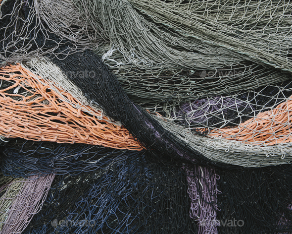 Close up of a pile of tangled up commercial fishing nets. - Stock Photo - Images