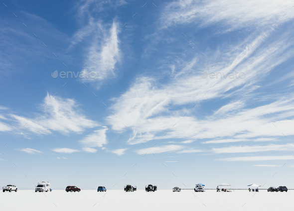 Cars and spectators lined up on Salt Flats during World of Speed - Stock Photo - Images