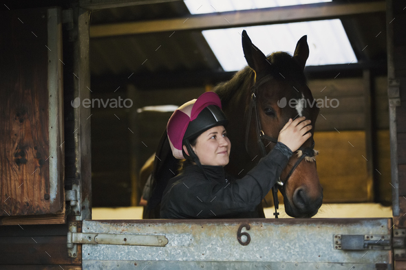 Woman wearing a riding helmet and brown horse standing in a box stall in a stable. - Stock Photo - Images
