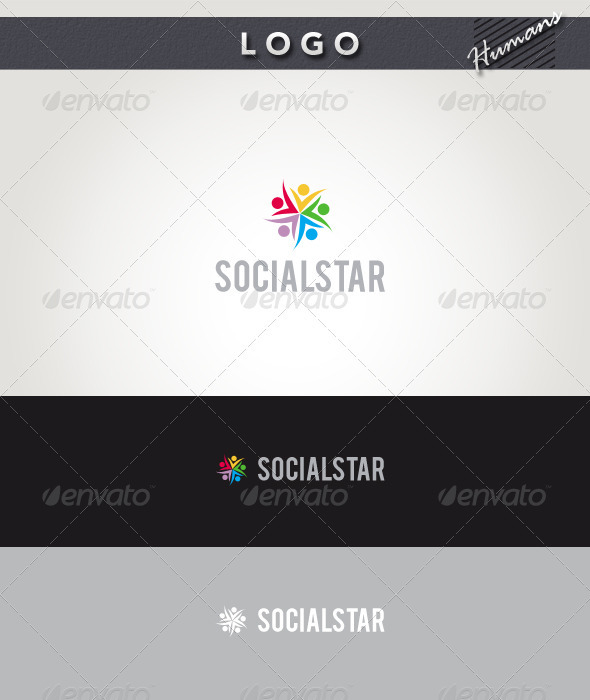 Social Star Logo - Humans Logo Templates