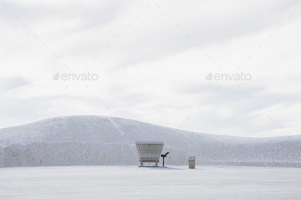 Picnic table and shelter at White Sands National Park - Stock Photo - Images