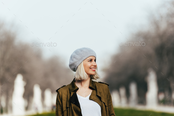 Portrait of a Young woman in the street. - Stock Photo - Images