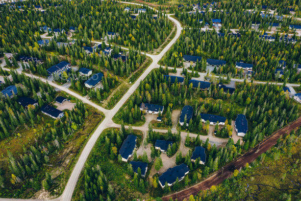 Aerial view of rural village, residential area with cottages in Finland - Stock Photo - Images