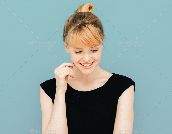 Beauty Woman Face Emotional. Perfect skin smiling color background - Stock Photo - Images
