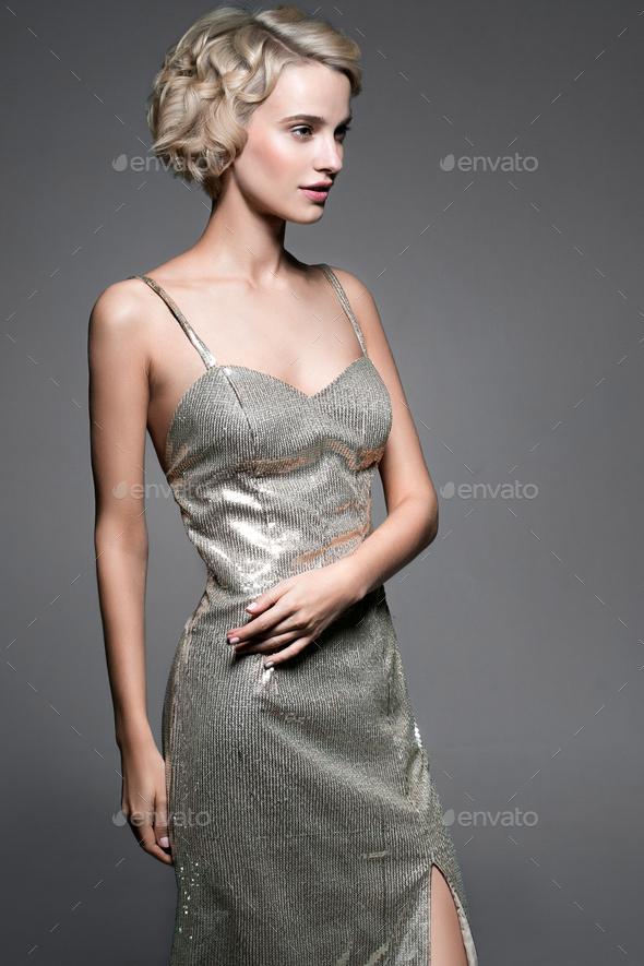 Evening dress woman portrait - Stock Photo - Images