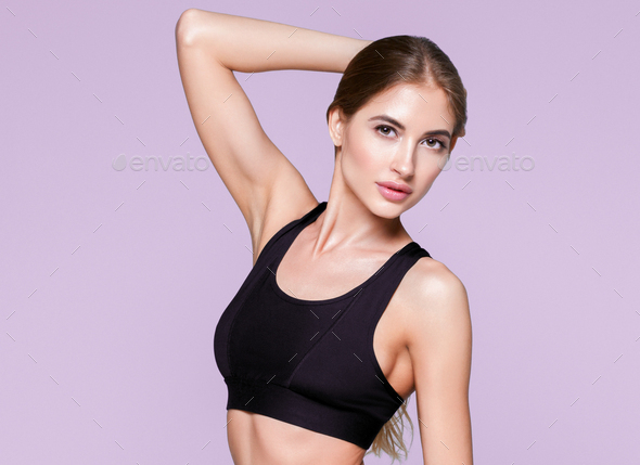 Woman sporty body beautiful skin healthy model - Stock Photo - Images