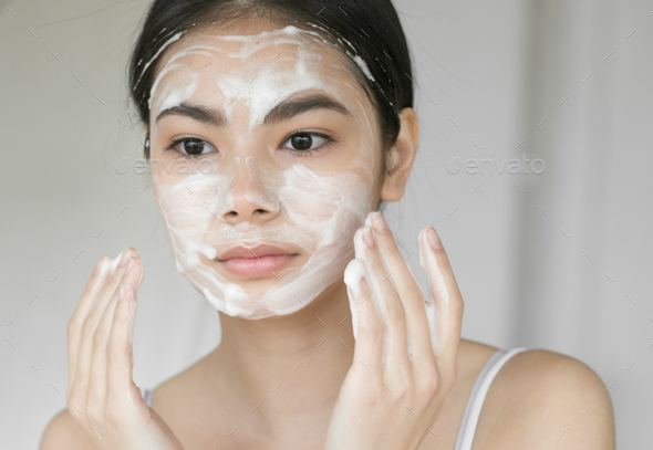 Soap woman asian face beautiful girl clean skin - Stock Photo - Images