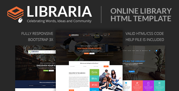 Exceptional LIBRARIA – Online Library HTML Template