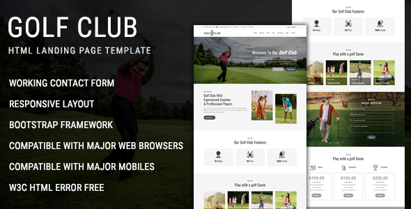 Golf Club - Multipurpose Responsive HTML Landing Page Template
