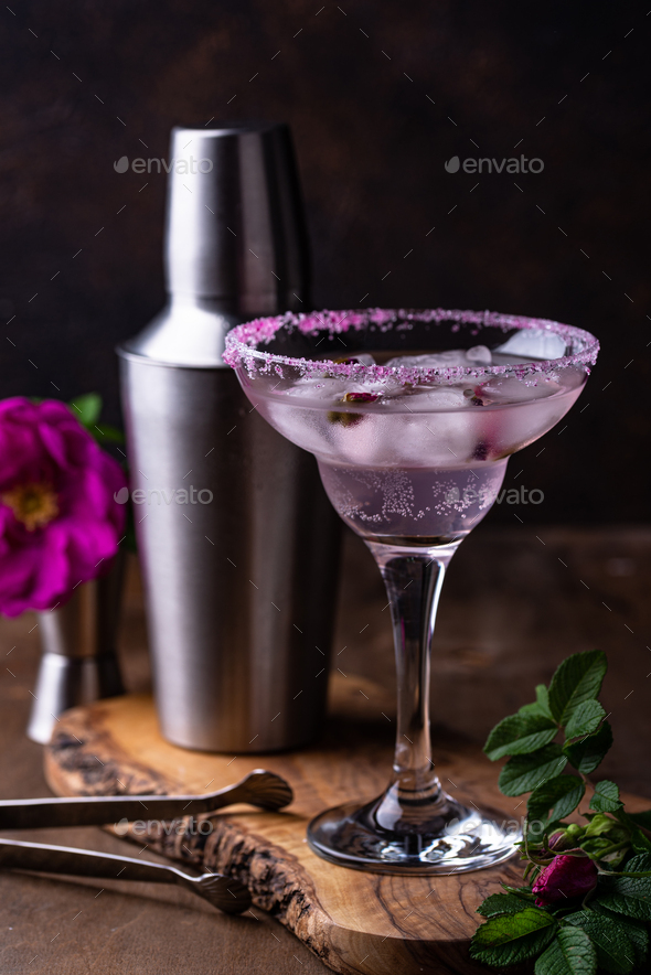 Pink cocktail Margarita with rose syrup - Stock Photo - Images
