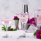 Assortment of pink cocktails with rose syrup - PhotoDune Item for Sale