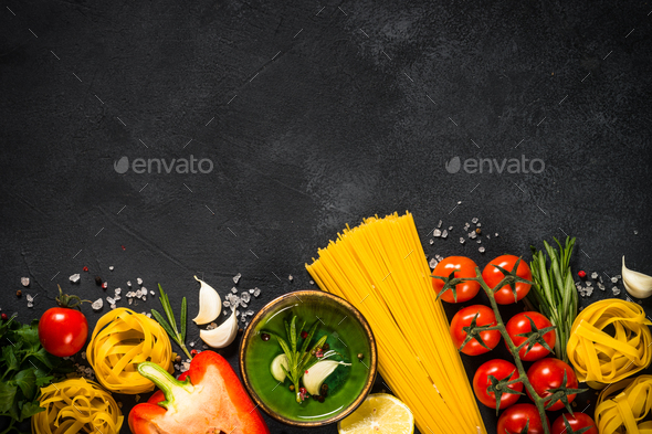 Food cooking background at black table top view - Stock Photo - Images