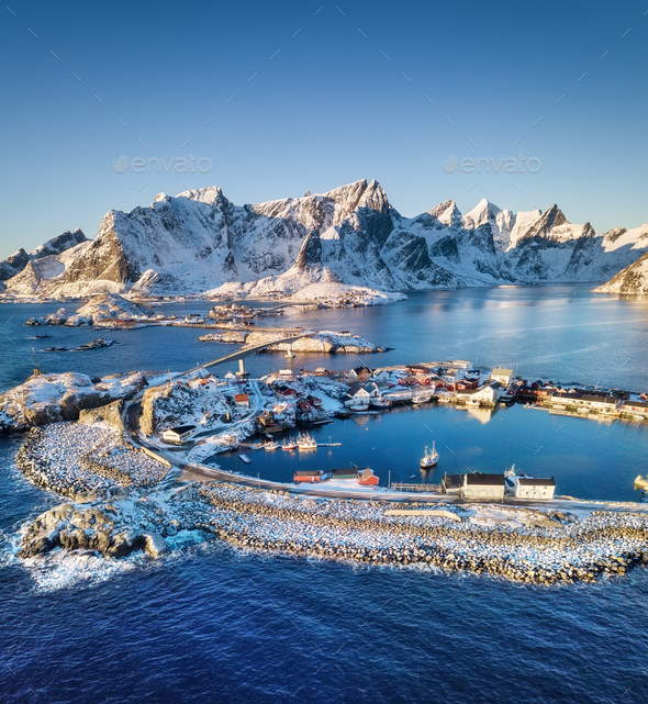 Lofoten islands in the Norway. Winter aerial landscape. Travel image - Stock Photo - Images