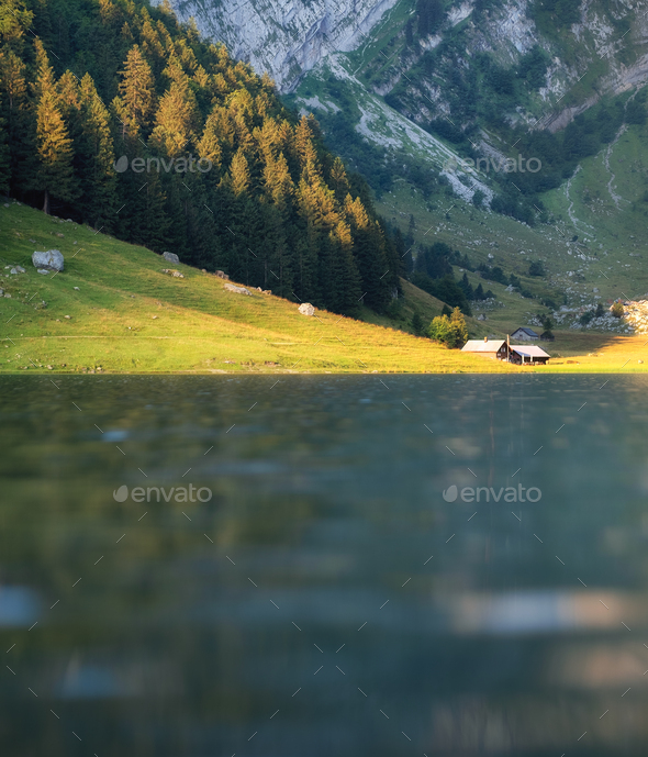 Lake in the Switzerland. Summer landscape. Travel image - Stock Photo - Images