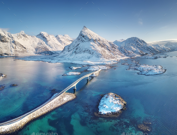 Fredvang bridges, Lofoten islands, Norway. Winter landscape. Travel image - Stock Photo - Images