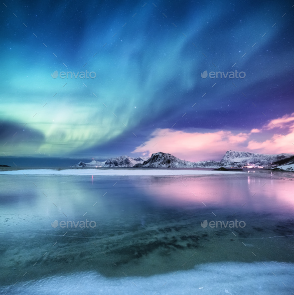 Northern lights on the Lofoten Islands, Norway. - Stock Photo - Images