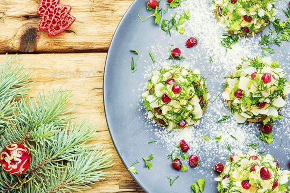 Appetizing Christmas tartlet - Stock Photo - Images