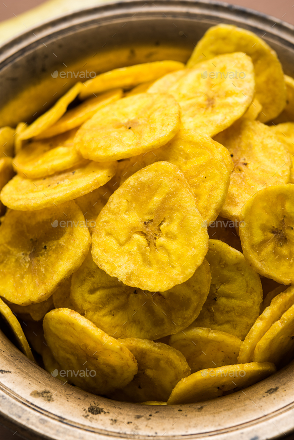 Banana chips or wafers - Stock Photo - Images