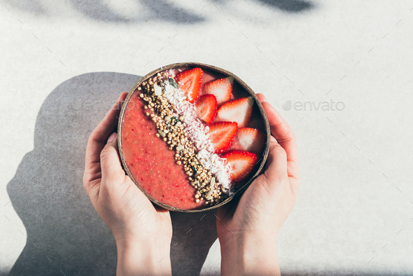 Strawberry Smoothie in Coconut Bowl - Stock Photo - Images
