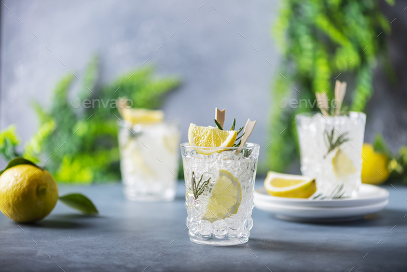 lemon soda cocktail with rosemary - Stock Photo - Images