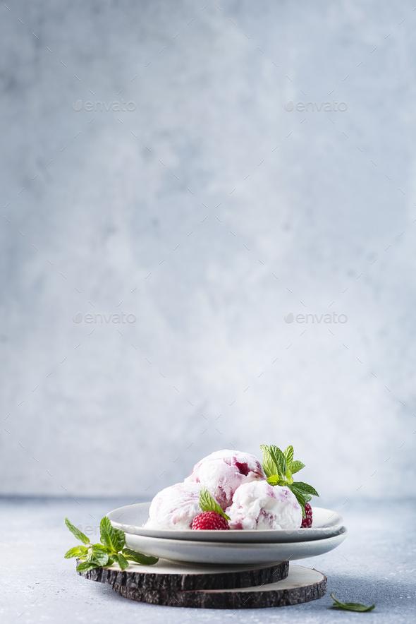 Sweet ice cream with raspberry - Stock Photo - Images