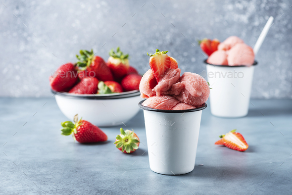 Summer strawberry ice cream - Stock Photo - Images