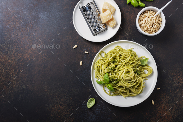 Traditional Italian spaghetti with basil - Stock Photo - Images