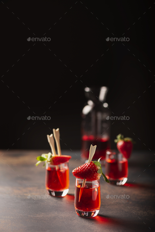 Shot with strawberry vodka - Stock Photo - Images