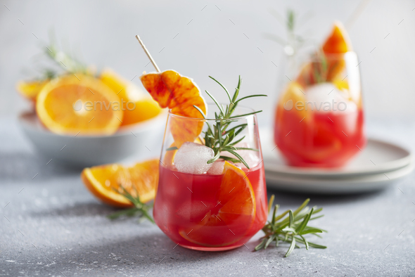 Cocktail with red oranges - Stock Photo - Images